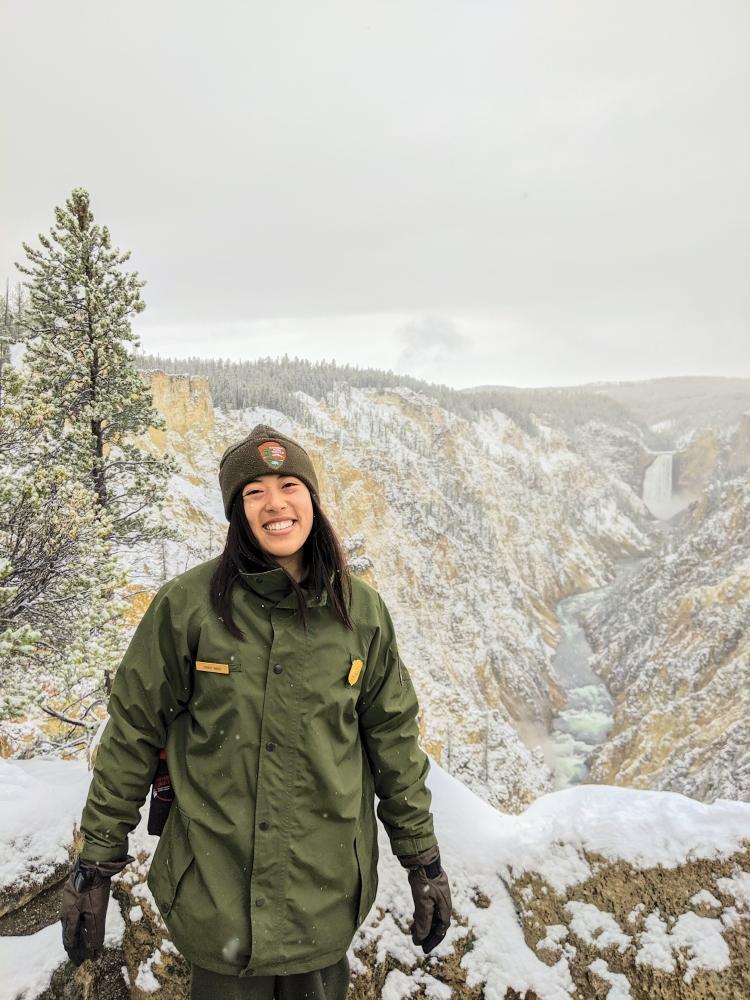 Ranger Vivian at Artist Point, Yellowstone