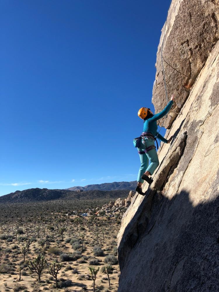 Vivian climbing at Joshua Tree National Park